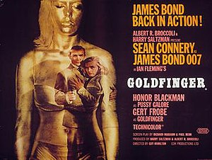 Goldfinger (film) - British cinema poster for Goldfinger, designed by Robert Brownjohn