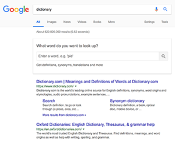 Google search dictionary