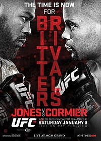 A poster or logo for UFC 182: Jones vs. Cormier.