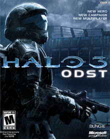 "A futuristic soldier holding a firearm looks to his right as it rains; a defense wall can be seen in the distance. In the center of the scene a stylized title reads, ""HALO 3"", and the word ""ODST"" lies below, written in a sans-serif font."