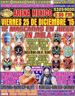 Infierno en el Ring (2015) - Official poster for the show depicting the twelve wrestlers in the main event along with Carístico and Cibernético