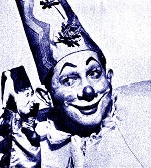 "The Magic Clown - Zovella, the Magic Clown, and ""Laffy"" (NBC promotional photo, 1951)."