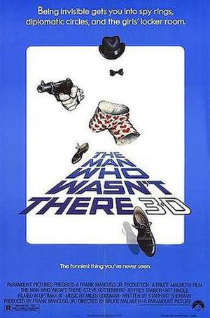 """The Man Who Wasn't There (1983 film) - Theatrical poster with the tagline: """"Being invisible gets you into spy rings, diplomatic circles, and the girl's locker room."""""""