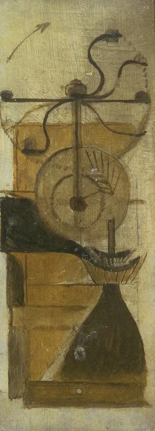 Marcel Duchamp, 1911, Coffee Mill (Moulin à café), oil and graphite on board, 33 x 12.7 cm, Tate, London