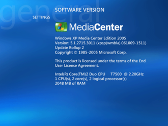 Windows XP Media Center Edition - The Software Version screen showing MCE running on an Intel Core 2 Duo computer.