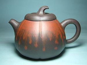 """Yixing ware - A yixing zisha teapot - """"Melon"""", which combines Zi Ni and Zhu Ni clays"""