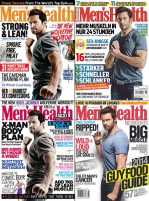 Men's Health - June 2014 issues of Australian, German, UK and USA editions showing the use of shared content, in this case a cover image from the same photo set of Hugh Jackman.