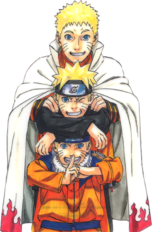 Naruto Uzumaki: Part I, Part II and adult wearing his regular orange jumpsuit