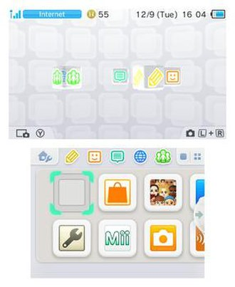 Nintendo 3DS - The Nintendo 3DS Home Menu as of system version 9.3.0-21. The upper screen displays a 3D animated logo for each individual app, while the bottom screen displays application icons.