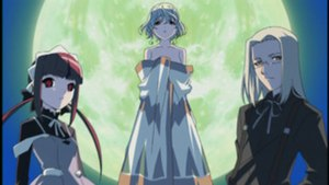 The main antagonist. From Left to right: Mea ,...
