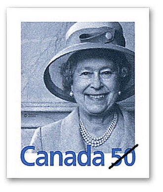 Queen Elizabeth II domestic rate stamp (Canada) - Image: Queenstamp 2