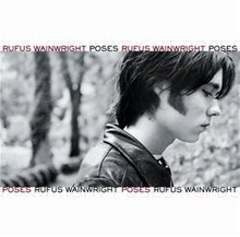 "White square with profile of man and ""Rufus Wainwright"" and ""Poses"" written above and below the image"