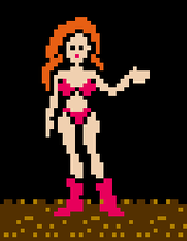 A zoomed in video game screenshot of a woman in a bikini. The image is low-detail and pixelated.