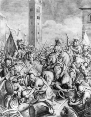 "Jean d'Eppe - The battle of Forlì, also called the battle of Calendimaggio (1 May), was a disastrous defeat for Jean d'Eppe. His largely French army was reduced, in the words of Dante, to a ""bloody heap"" (sanguinoso mucchio). The scene depicted here is from a fresco by Giovanni Battista Marchetti (1763)."