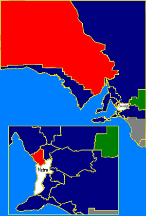 South Australian state election, 1997 - Rural SA: ALP in red, Liberal in blue, Independents in white, Nationals in green. These boundaries are based on the 2006 electoral redistribution.