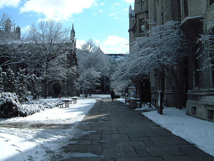 The quadrangles during wintertime.