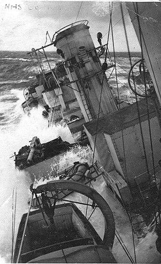 HMS Boadicea (H65) - Image: Sternof Boadicea