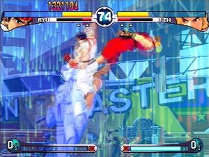 Street Fighter - Ryu using the Shin Shoryuken on Ken in Street Fighter III: 2nd Impact