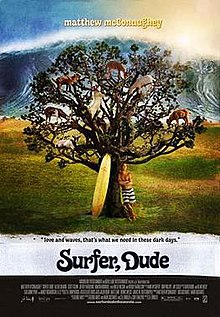 A tree with goats sitting on the branches. A surf board and a man are leaning against the tree trunk. In the far distance is an enormous wave.