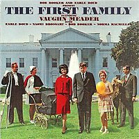 Vaughn Meader (center, right) featured on the cover of The First Family, c. 1962