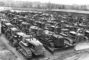 332nd Engineer General Service Regiment - Staging of Bulldozers, Thatcham Depot, UK