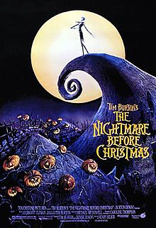 "A skeleton-like figure wearing a suit stands on a curled cliff, in front of a yellow full moon. Below him are hills with jack-o-lantern pumpkins. On a mountain is written the title, ""Tim Burton's The Nightmare Before Christmas""."