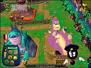 Theme Park World - A typical Lost Kingdom park. At the bottom right is the adviser.