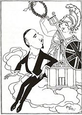 caricature of a middle-aged man in evening clothes and a youngish woman dressed as Britannia