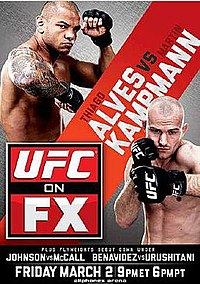 A poster or logo for UFC on FX: Alves vs. Kampmann.