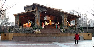 U.S. Steel Tower - The nativity scene displayed in the courtyard during the holiday season.