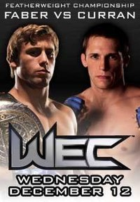 A poster or logo for WEC 31: Faber vs. Curran.