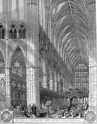 Remember not, Lord, our offences - Choir of Westminster Abbey, as pictured in The Illustrated London News in 1848