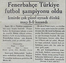 Turkish newspaper Akşam announcing the Turkish championship title of Fenerbahçe on 11 November 1933