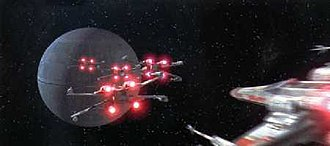 X-wing fighter - X-wings with their s-foils locked in attack position as they assault the Death Star in Star Wars (1997 Special Edition).