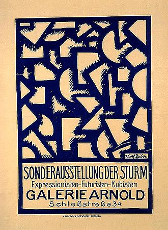 Rudolf Bauer (artist) - Bauer went through several phases in his artistic expression, including a Cubist period as witnessed by this poster for a 1918 exhibition of Der Sturm in Dresden.