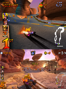 0669611f0 A comparison of gameplay as Coco in the Dingo Canyon level in the original  game (above) and Nitro-Fueled (below). Main article: Crash Team Racing ...