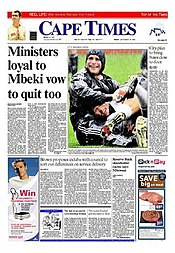 Cape Times frontpage 20080919.jpg