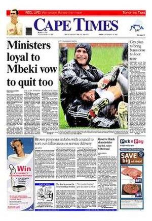 Cape Times - Image: Cape Times frontpage 20080919