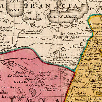 Moneton - Clip from Homann Johann Baptist 1663-1724 map ca. 1710 showing the people Captain Vielle, in 1692, passed by to arrive in Chaouenon's country as the French Jesuit called the Shawnee