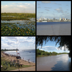 Clockwise from top: Iberá Wetlands, Corrientes City, Playa Pelicano in Paso de la Patria, Paraná River.