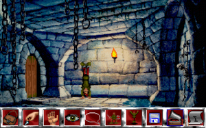 Curse of Enchantia - The game's starting location and its icon-driven user interface bar (Amiga)