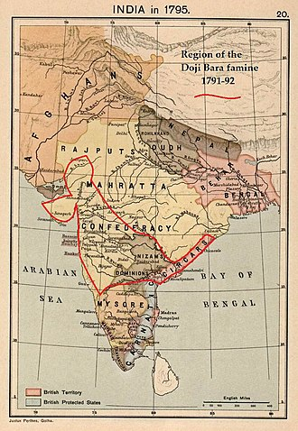 Timeline of major famines in India during British rule - Map of India (1795) shows the Northern Circars, Hyderabad (Nizam), Southern Maratha Kingdom, Gujarat, and Marwar (Southern Rajputana), all affected by the Doji bara famine.
