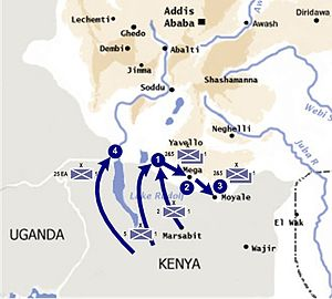 Kenya in World War II - Map showing the first British foray into Italian Ethiopia from Kenya in early 1941