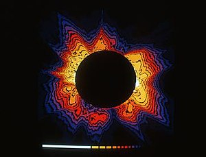 High Altitude Observatory - This color-enhanced photograph of the sun's outer atmosphere, or corona, was made by a research team from the National Center for Atmospheric Research's High Altitude Observatory during a total solar eclipse on 30 June 1973 at Loiyengalani, Kenya. It was taken with a special camera designed by Gordon Newkirk of NCAR.
