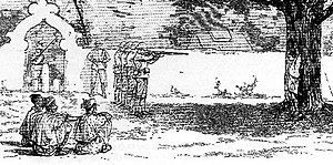 Burmese resistance movement 1885–95 - A Burmese rebel being executed at Shwebo, Upper Burma, by Royal Welch Fusiliers.