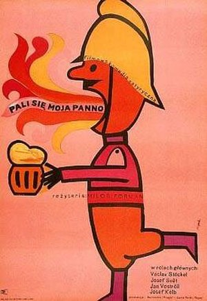 Czechoslovak New Wave - Polish poster of Firemen's Ball by Miloš Forman