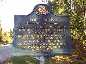 Fort Mims massacre - Alabama Historical Association Fort Mims marker
