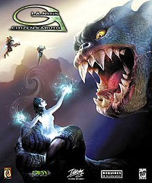 "The face of a large, blue-scaled, humanoid creature looms at the right. Its jaws are open, exposing large sharp fangs, and its yellow eyes are focused on its hand, which is clutching a naked female humanoid. She has shoulder-length hair and light blue skin. Energy glows off her hands. At the top left below the ""Giants: Citizen Kabuto"" logo are two armoured humanoids, flying with the aid of jetpacks and shooting their guns."