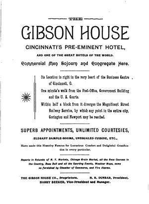 Gibson House (Cincinnati) - Early advertisement for the Gibson House