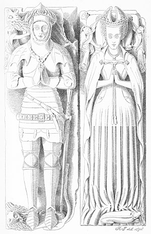 Church of St Dubricius, Porlock - Drawing from 1890 of effigies in Church of St Dubricius, Porlock, of John Harington, 4th Baron Harington (died 1418) and his wife Elizabeth Courtenay (died 1471), daughter of Edward de Courtenay, 3rd Earl of Devon (died 1419)